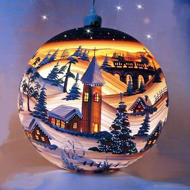 Beleuchtete Weihnachtskugeln.L Elektrisch Beleuchtete Glaskugel Eisenbahn