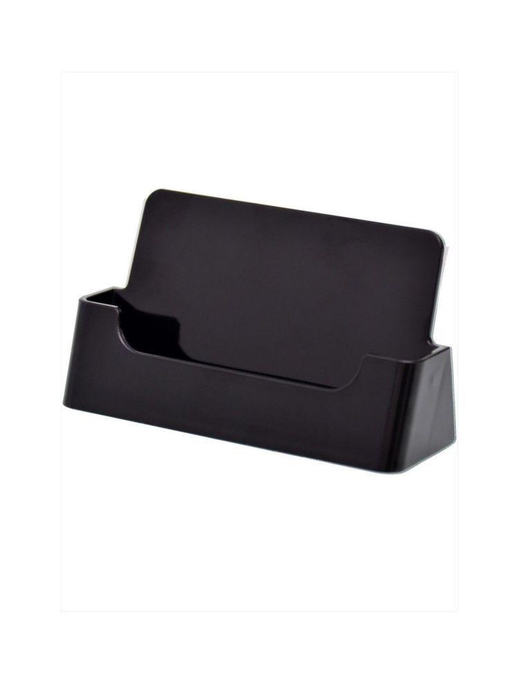 Black Business Card Holder Desk Top Stand Rack Display Plastic ...