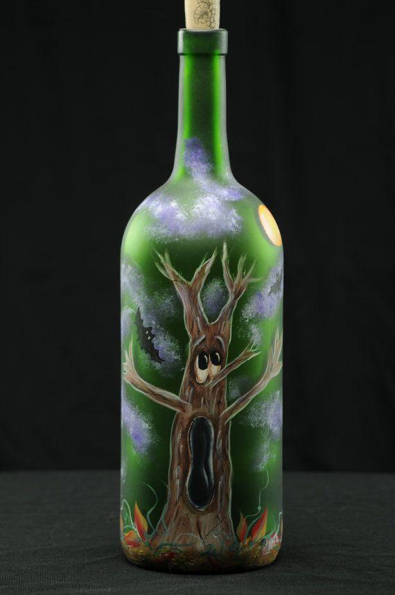 1.5 Ltr Handpainted Lighted Wine Bottle /Halloween by ArteeVita