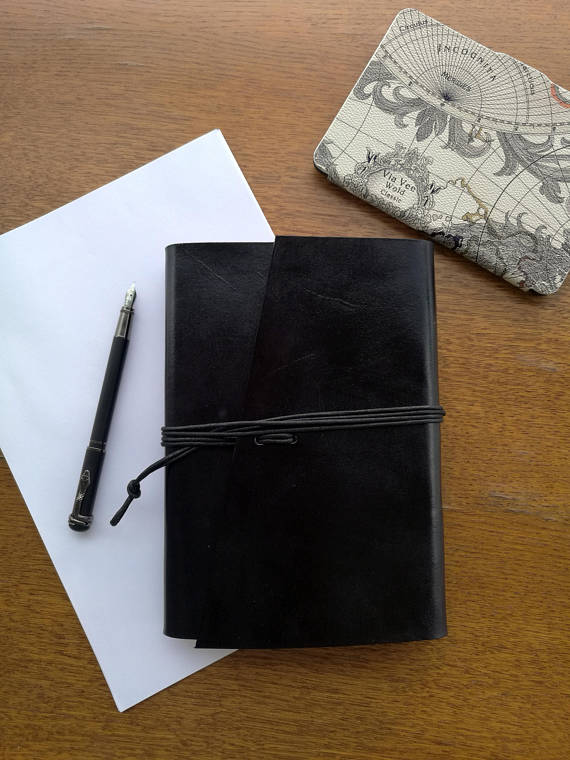 Refillable A5 Leather Journal, Refillable Book Cover, Refill