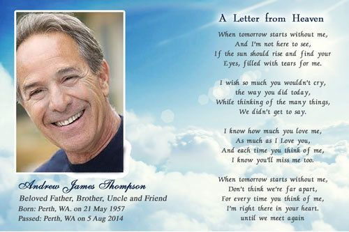 Funeral Cards  Letter From Heaven  Funeral Card Messages