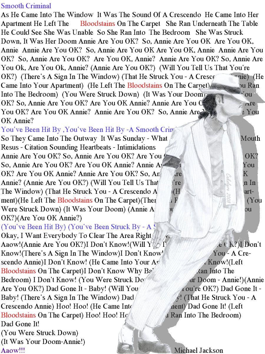 Lyrics: Smooth Criminal Lyrics ~ Michael Jackson By ~Cakolyre On