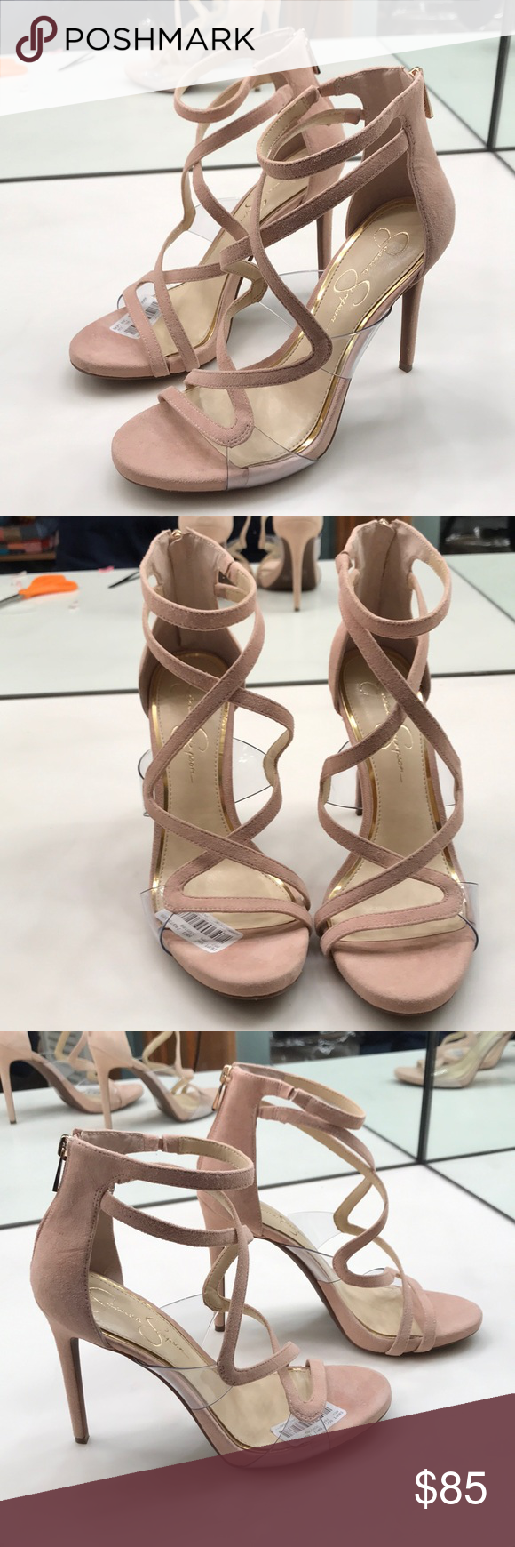c883916b9b2 Pink Suede Jessica Simpson heels Super Cute Pink suede Jessica Simpson size  9.5 heels with rose gold zippers and a crisscross of suede and clear on the  ...