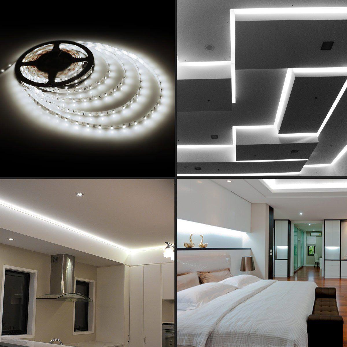 Amazonsmile le 164ft led flexible light strip 300 units smd 2835 300 led string lights decor home office white waterproof flexible bar wall strip aloadofball Gallery
