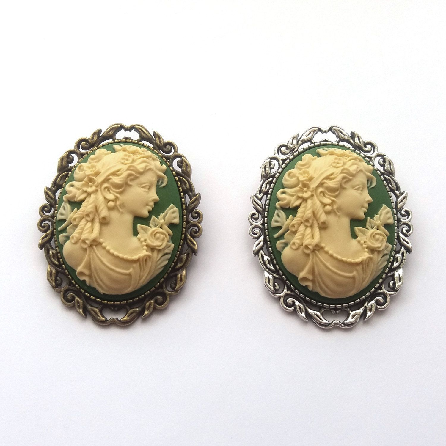Classical Lady Green Cameo Brooch in Bronze or Silver by TemporalFlux on Etsy