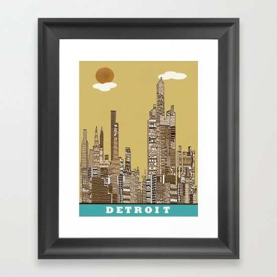Detroit skyline vintage Framed Art Print | Detroit skyline and Detroit