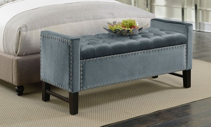 Ordinaire Marcus Velvet Button Tufted Storage Bench With Decorative Nailheads: Marcus  Velvet Button Tufted Storage Bench