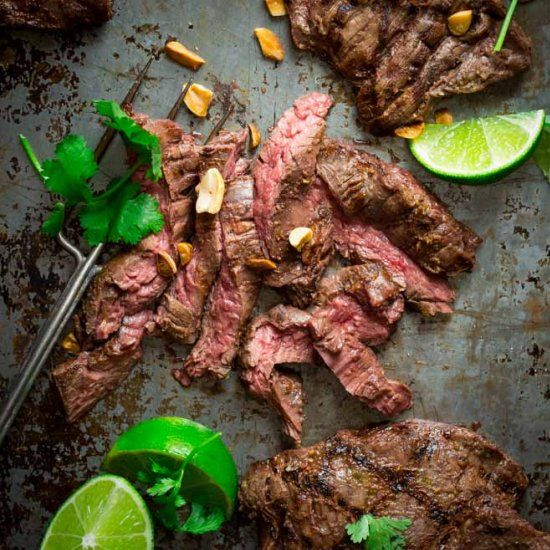 Grilled Thai Coconut Lime Skirt Steak #paleo and #glutenfree