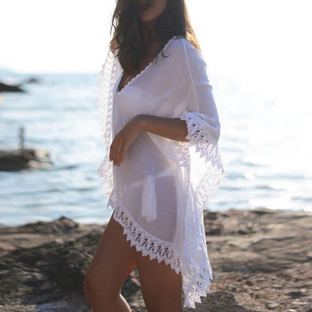 96f3d0fbd8c7b V neck Beach Kaftan Dress Swimwear Sarongs Sexy Bikini White Sweet Lace  Crochet Bathing Suit Cover up Women Loose Swimsuit