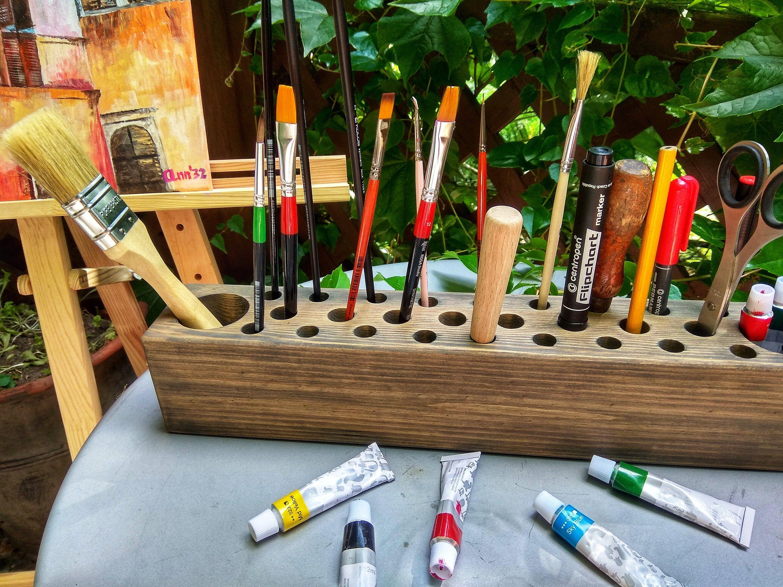 Grey paint brush holder gift for artist painter tool