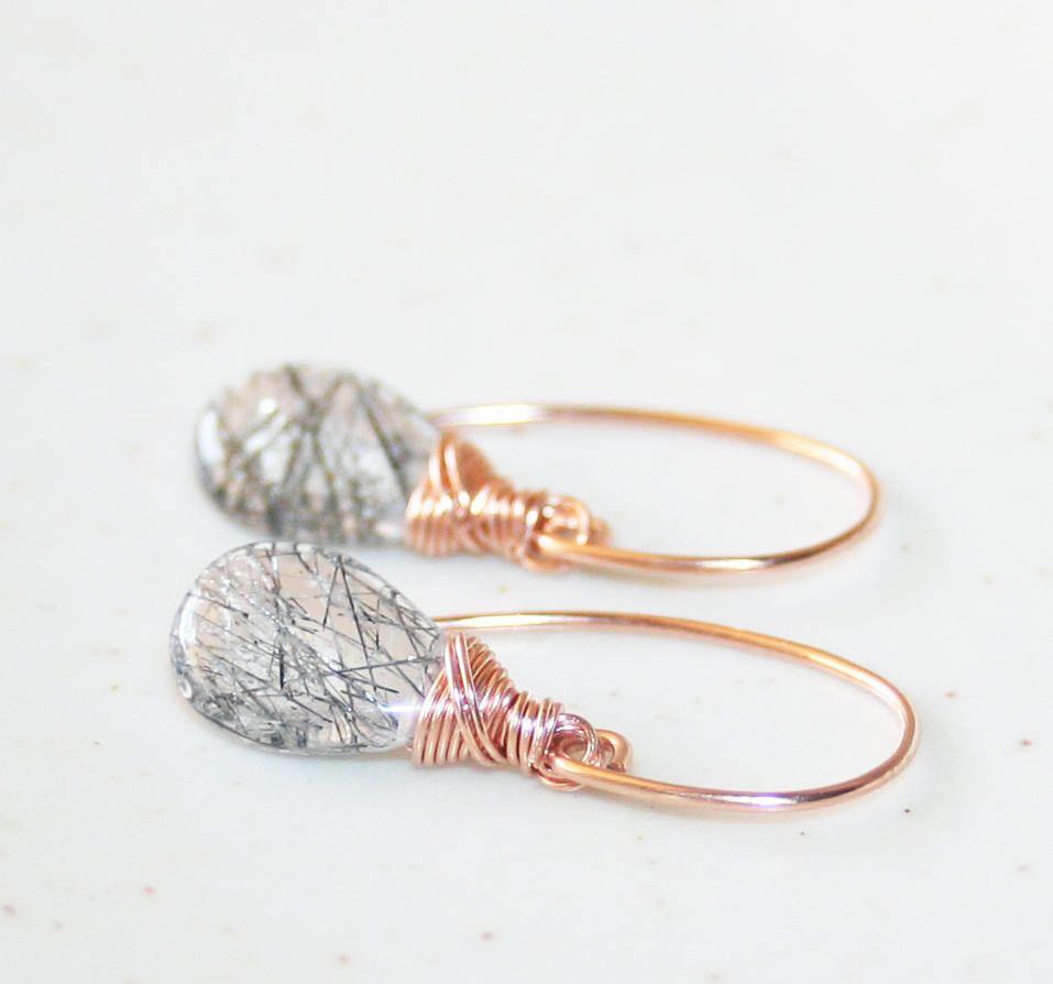 Little Black Rutilated Quartz Dangle Earrings 14K Rose Gold Filled