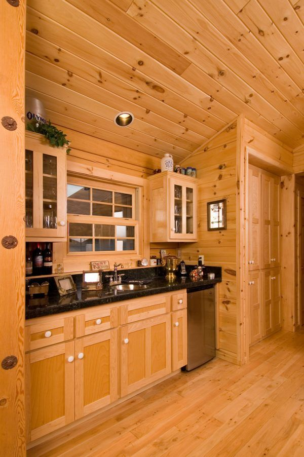 Decoration Appealing Knotty Pine Log Cabin Interior Paneling Using Modern Wooden Cabinets Under