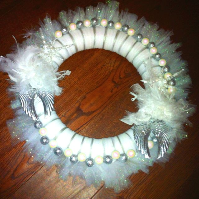 Angel remembrance wreath.  Made for two for two sisters who lost their Mom. I was honored they asked, special wreaths for all occasions!  Sestell56@aol.com for orders.