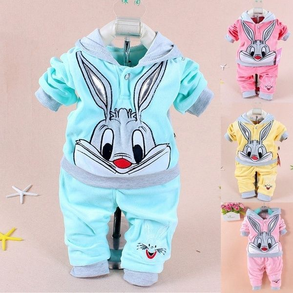 e3286a5a8 Baby Set Cartoon Rabbit Velvet Set Twinset Long Sleeve Set Hoodie & Pant,  Newborn Babies 100% Cotton Suits, Children's Clothes.