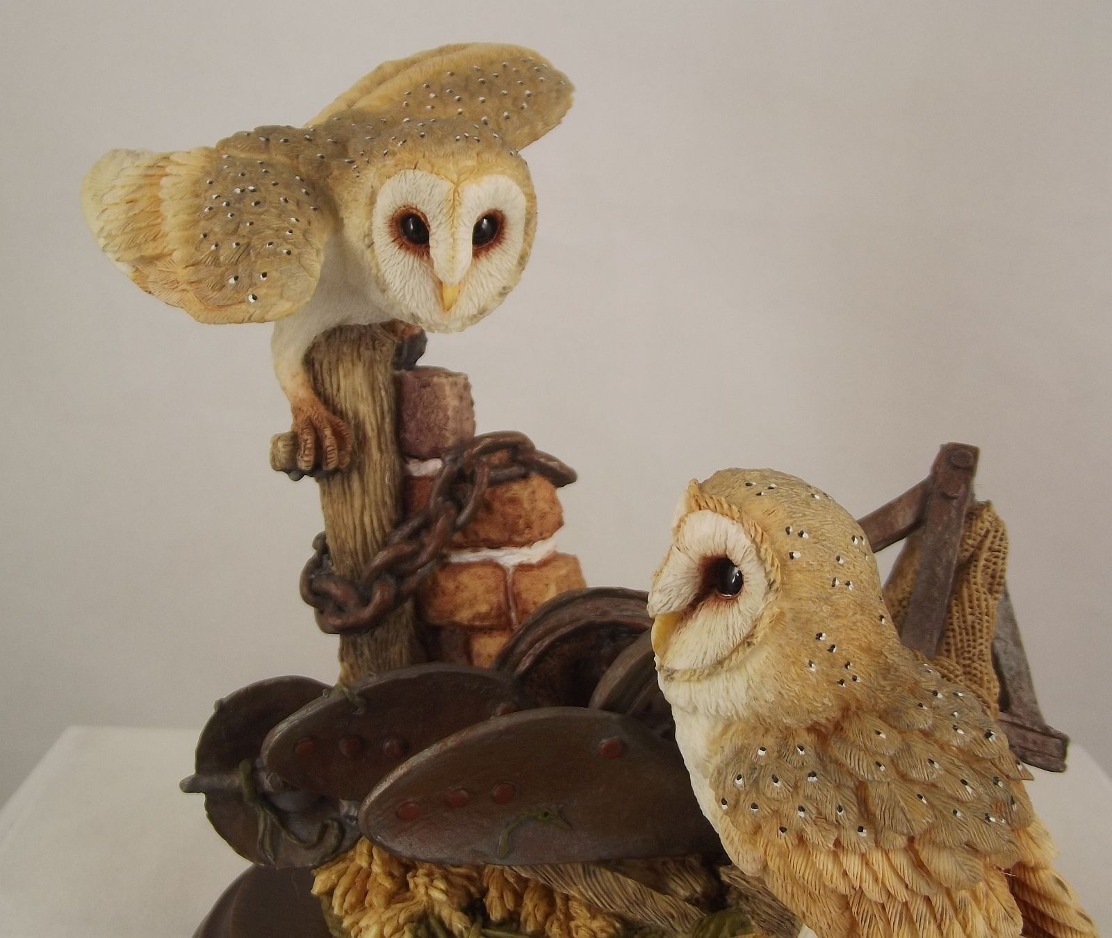 Country Artists Barn Owls with Plow © 1999 Wood Base CA