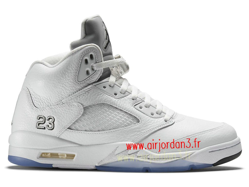 buy popular f1dc7 f57c3 ... Air Jordan 5 V Retro GS Chaussures Basket Jordan Taille Femme White  Metallic… ...