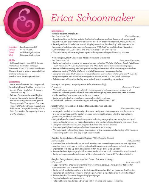 Erica Schoonmaker\u0027s Resume - a creative way to showcase your skills