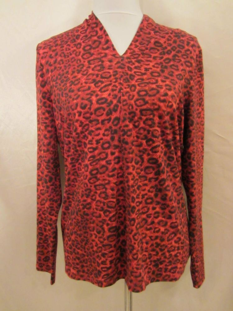 Talbots size Large NWT Top Blouse Pullover Shirt Red Black Animal Stretch Knit #Talbots #KnitTop #Career