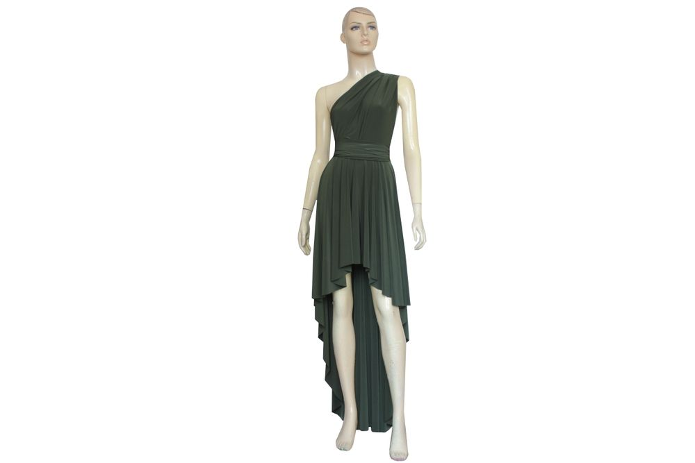 bc0ab97f6be Olive green bridesmaids dress. High low long infinity gown. Plus size  evening dress. Sexy prom outfit.