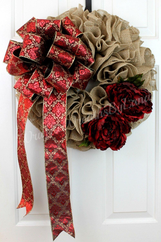 Fall and Christmas Burlap Wreath, Fall Burlap Wreath, Christmas Burlap Wreath, Burlap Wreath by WruffleWreathsbyLana on Etsy