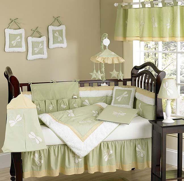 Unisex Green Dragonfly Dreams 9pc Baby Girl Boy Crib Bedding Set