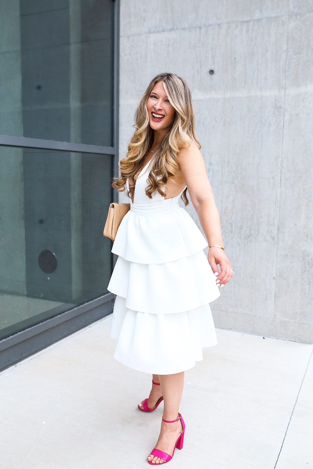 Warehouse tiered lace dress yellow  Dress ASOS  Shoes Sam Edelman  Bag Similar here  Necklace