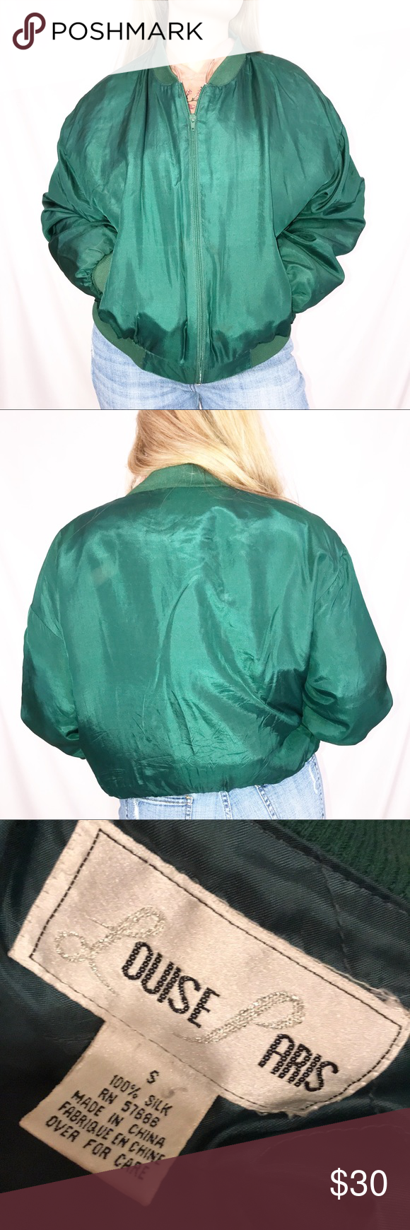 vintage 100 silk bomber jacket small in great condition model is