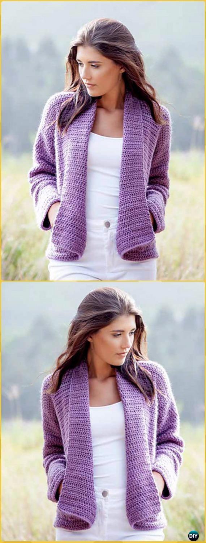 Crochet Wrap Cardigan Free Pattern - Crochet Women Sweater Coat ...