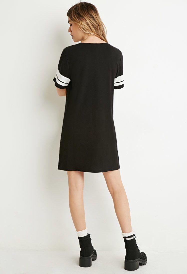 2cf7f936114c Varsity-Striped T-Shirt Dress - - Forever 21- 12 EUROS Cheap Dresses