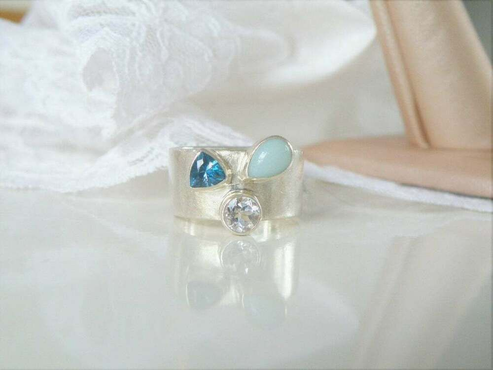 Natural Chalcedony with White Topaz Ring 925 Sterling Silver