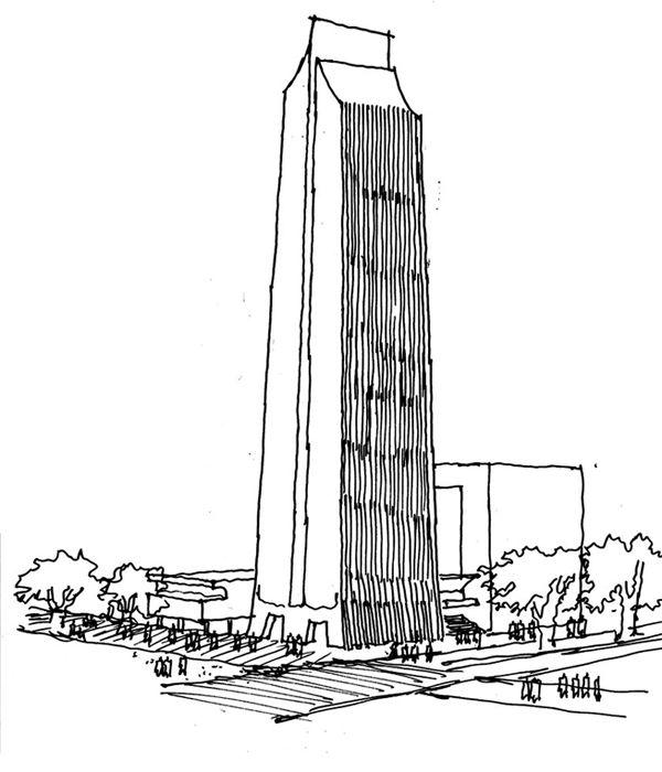 Dibujo a mano alzada del edificio Coltejer, símbolo de la empresa e ...