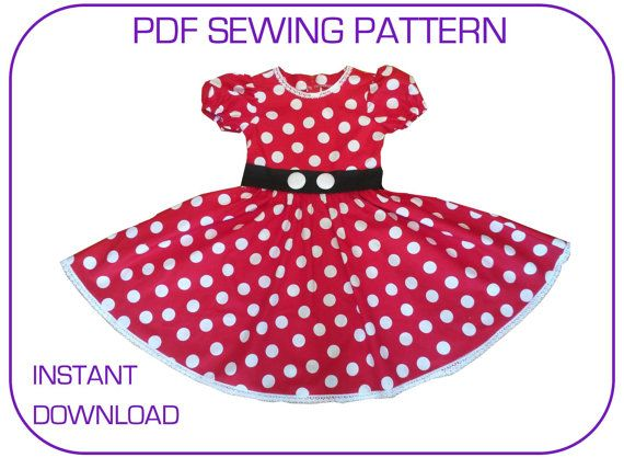 PDF sewing pattern for Minnie Mouse dress. 3 sizes for 3-7yr. Instant download.  sc 1 st  Pinterest & PDF sewing pattern for Minnie Mouse dress. 3 sizes for 3-7yr ...