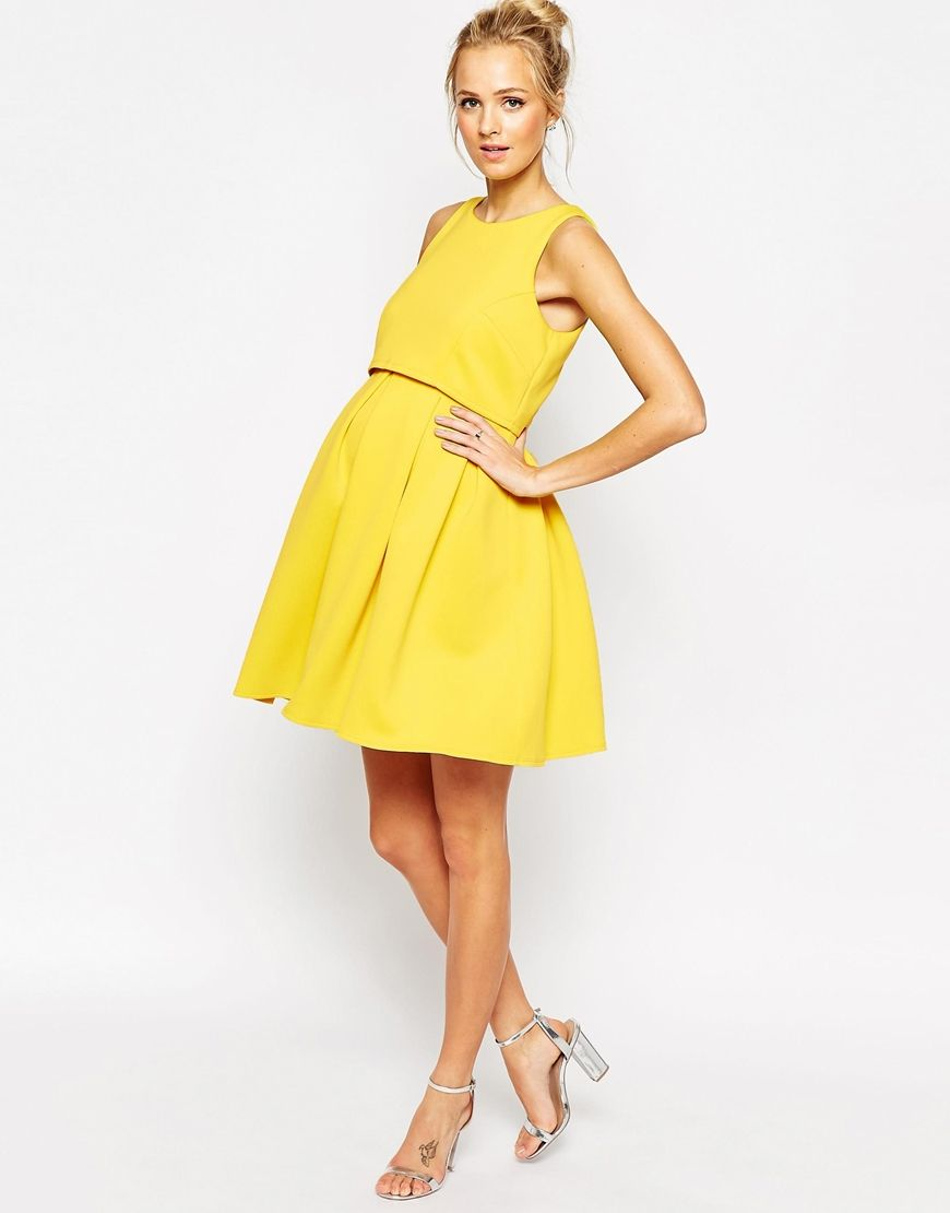 Project Nursery Maternity Skater Dress From Asos Yellow Evening Wear