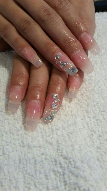Clear Acrylic With Rhinestones Nails Nail Designs Clear Acrylic Nails