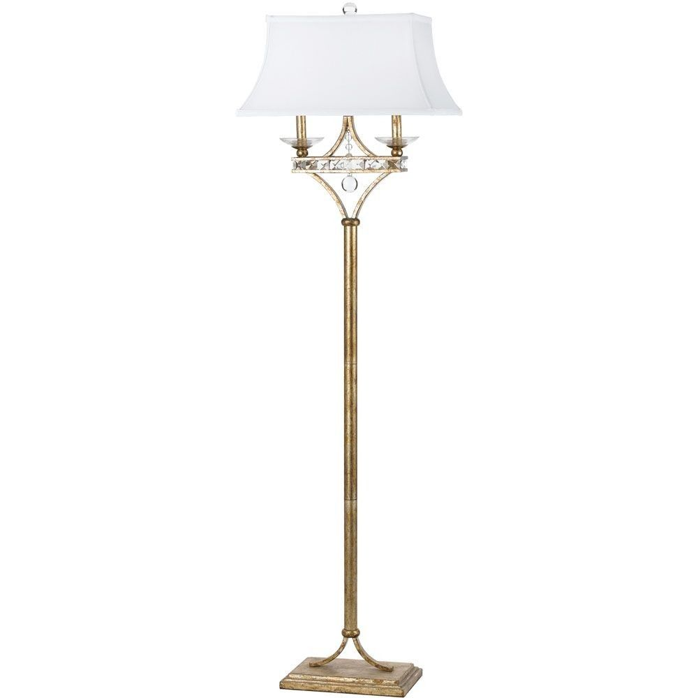 Aristocrat Two Light Floor Lamp Soft Gold Finish With Clear Glass With White Poly Silk Shade With Clear Crystal In 2021 Gold Floor Lamp Lamp Floor Lamp