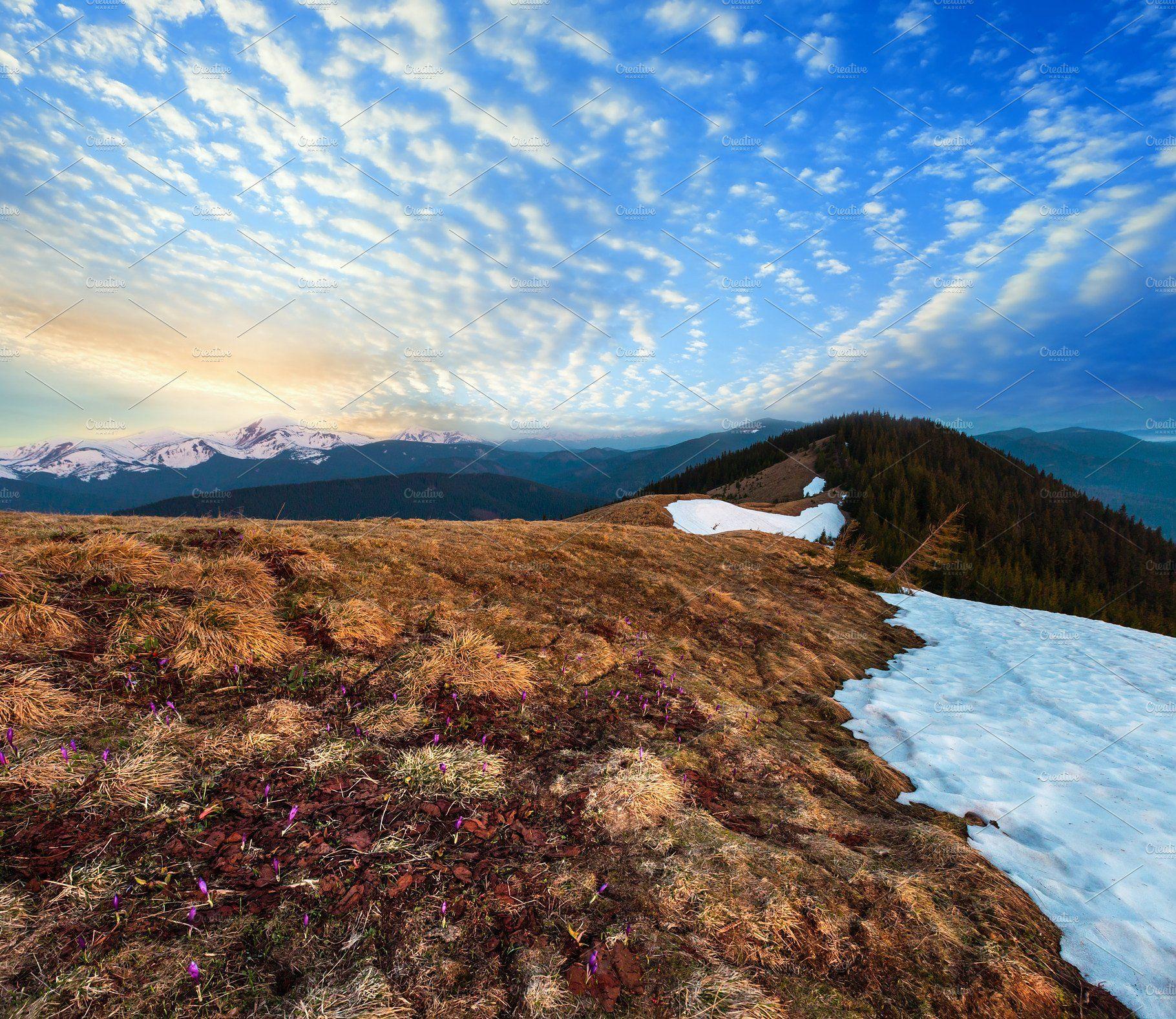 Sunrise Spring Carpathian Mountains Sunrise Landscape Mountains Sunrise Spring