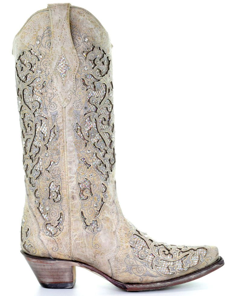Corral womens white glitter inlay western boots wedding