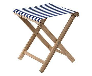 Sgabello in legno e cotone blu e bianco, 41x46x41 cm