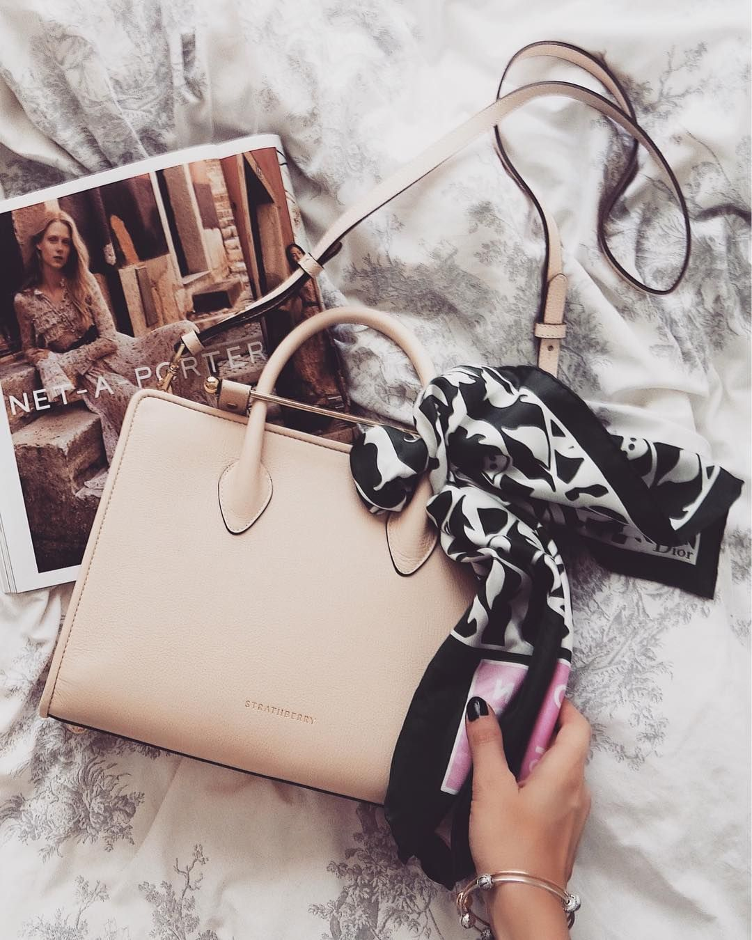 Sinead Crowe with The Strathberry Midi Tote in Nude  89c0ddcb08dc5