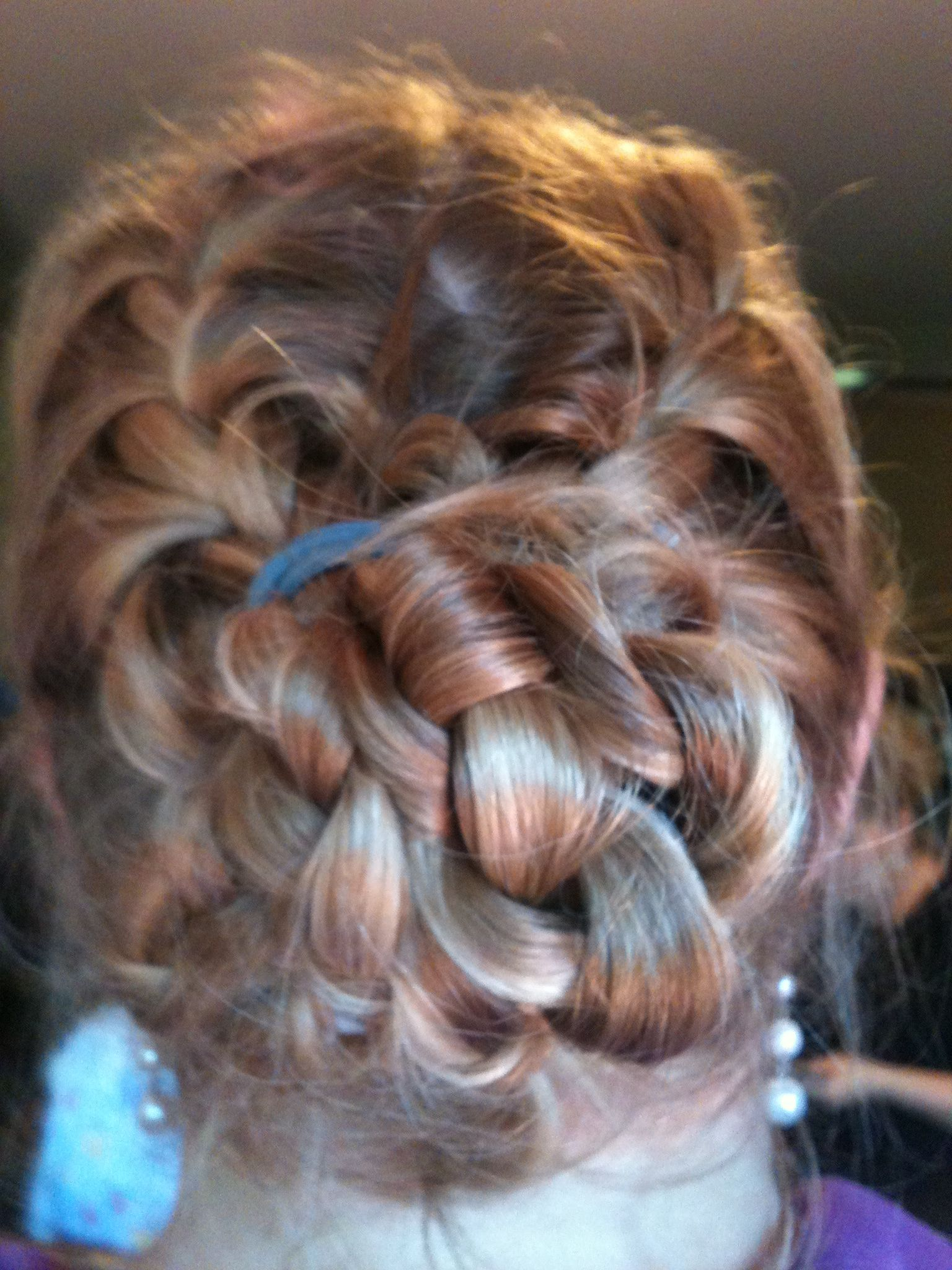 My hair yesterday french braids coming together into one braid