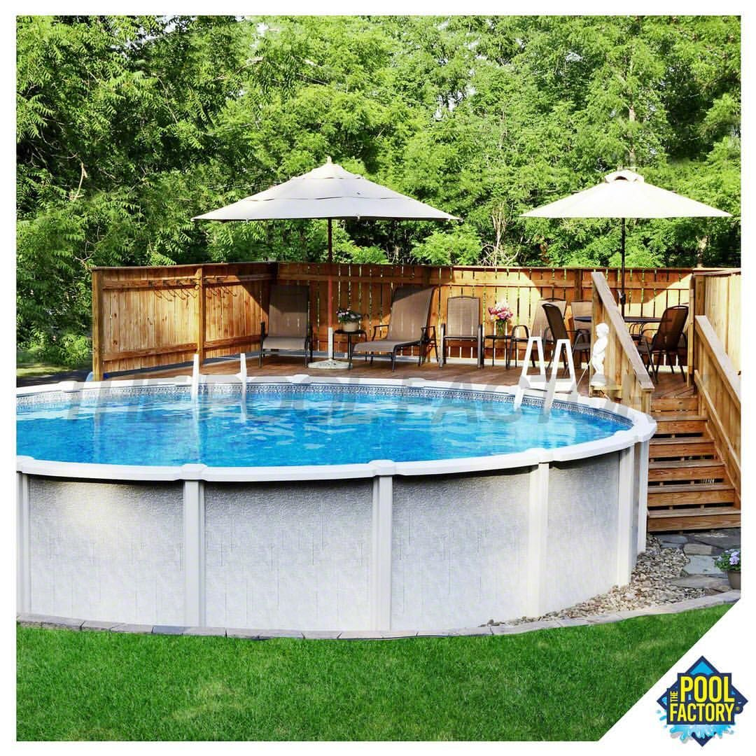 Partial Above Ground Pool Deck: Partial Deck With A Round Saltwater 8000 Above Ground Pool