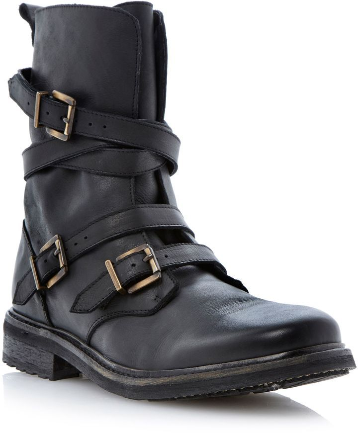 Bertie Carboretta Strap And Buckle Biker Boot On Shopstyle Co Uk