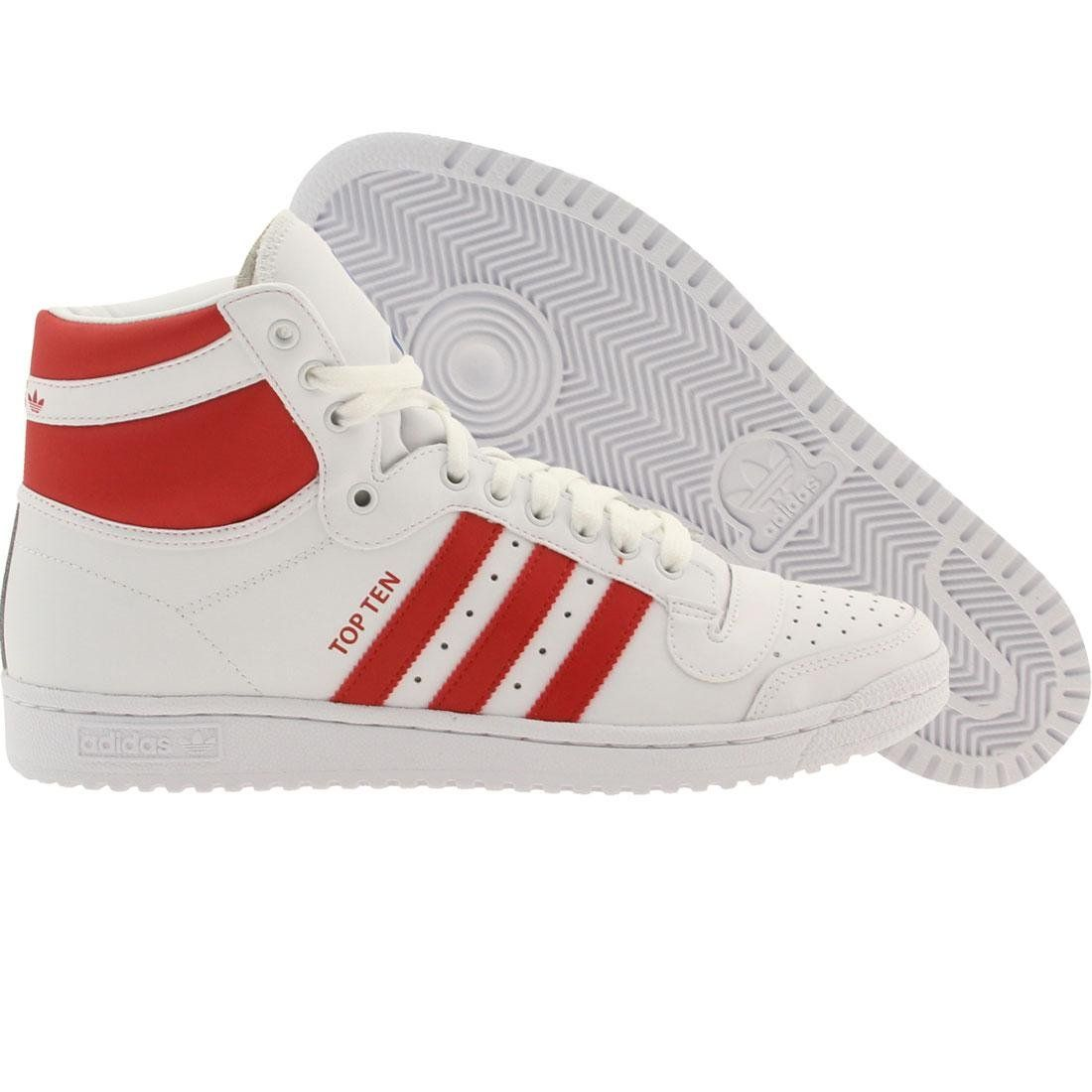 adidas Originals Men's Top Ten Hi Basketball Shoe, White/Red/Blue, 12