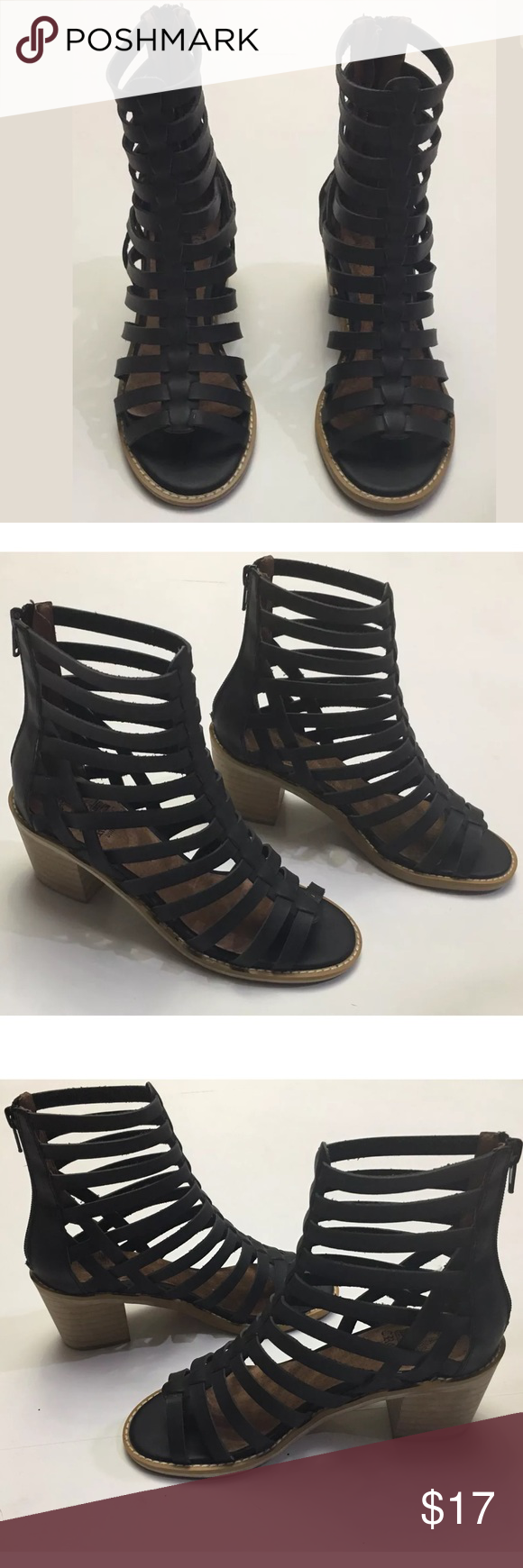 5bf2da08402b Crown Vintage Black Annika Gladiator Sandals Woman s Crown Vintage Black  Gladiator zip sandals in great condition Size 5.5 Zipper back Black leather  Block ...