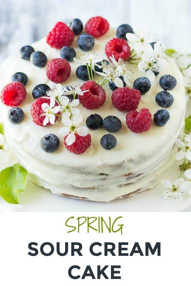 This Vanilla Sour Cream Cake Tort Smetannik Is A Healthy Layered Dessert That S Easy To Put Together And Is Sour Cream Cake Healthy Spring Desserts Desserts