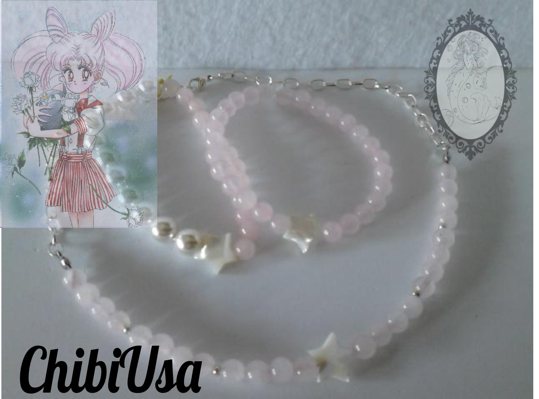 Conjunto Chibiusa. Idea de como combinar la gargantilla Sailor Chibi Moon, con dos pulseras inspiradas en ella, de cuarzo rosa, nácar y perlas de río.