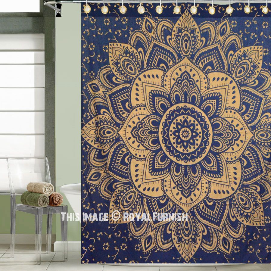 Blue Gold Passion Mandala Shower Curtain Royalfurnish Com