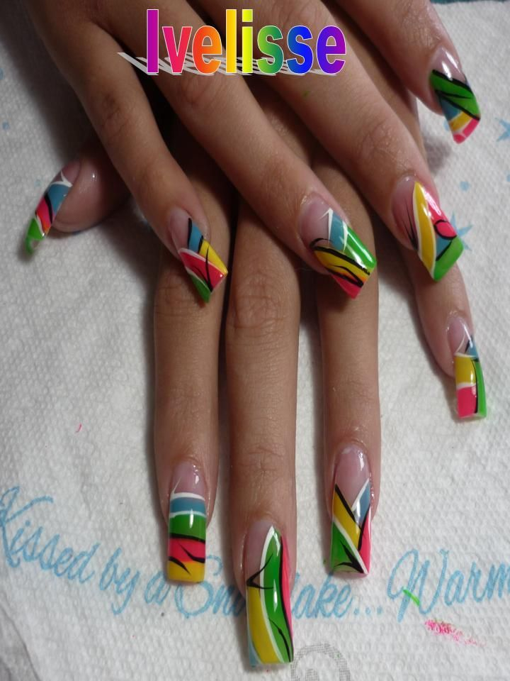 Eye-Catching Primary Neon Color In Long Nail Design Ideas | Nail art ...