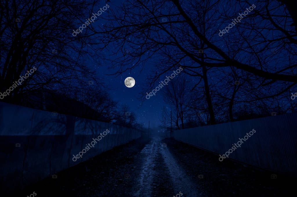 Full Moon Over The Ruins Of Old Grunge Building At Night Beautiful Night Landscape With Full Moon Night Landscape Landscape Photo Image