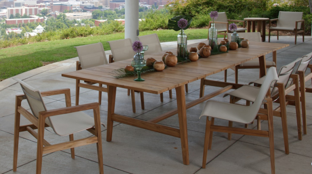 Market Preview Summer Classics At The Atlanta Winter Market January 2016 Teak Outdoor Furniture Teak Patio Furniture Outdoor Dining Set
